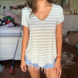 AEO Striped Mint Tee- xs